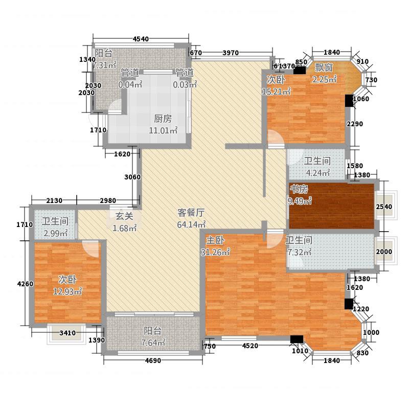金汇豪庭244.00㎡金汇豪庭户型图户型图3室2厅2卫1厨户型3室2厅2卫1厨