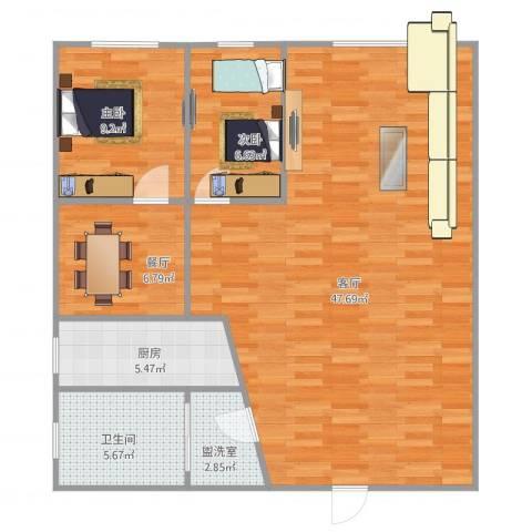 桃源雅居2室3厅1卫1厨112.00㎡户型图