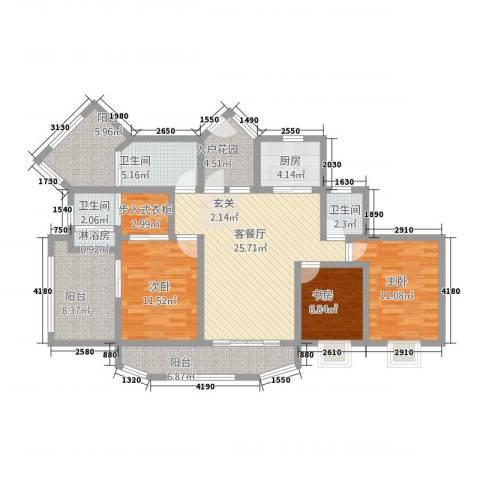 青羊新城3室1厅3卫1厨146.00㎡户型图