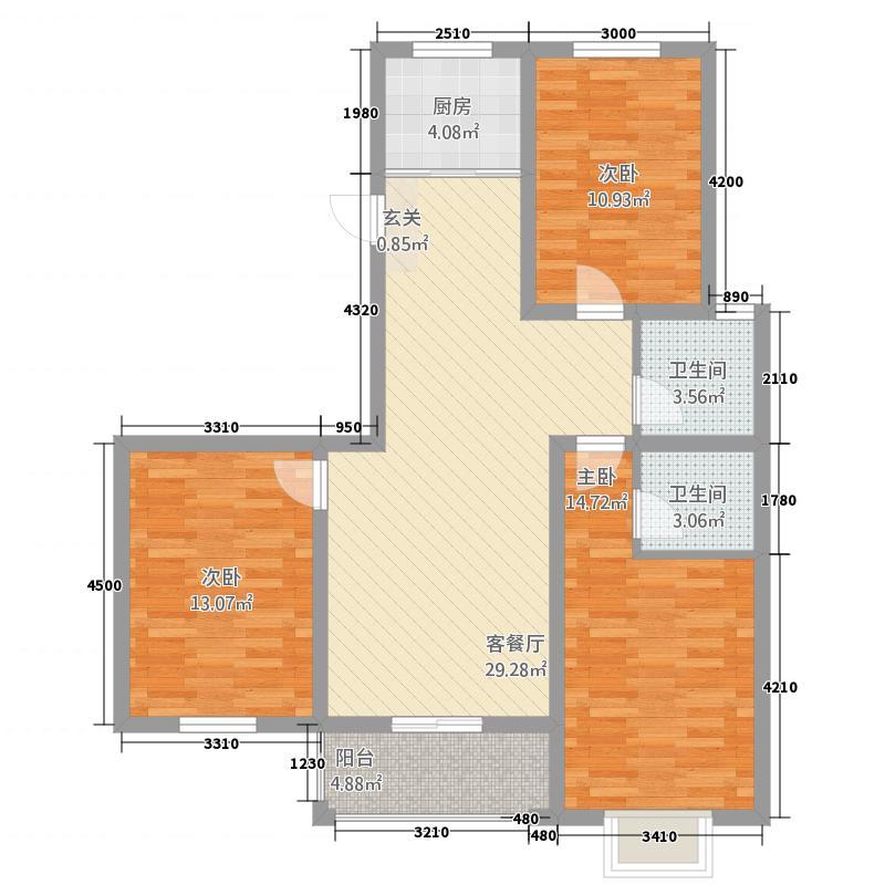 雅居美域11.35㎡至美户型3室2厅2卫1厨