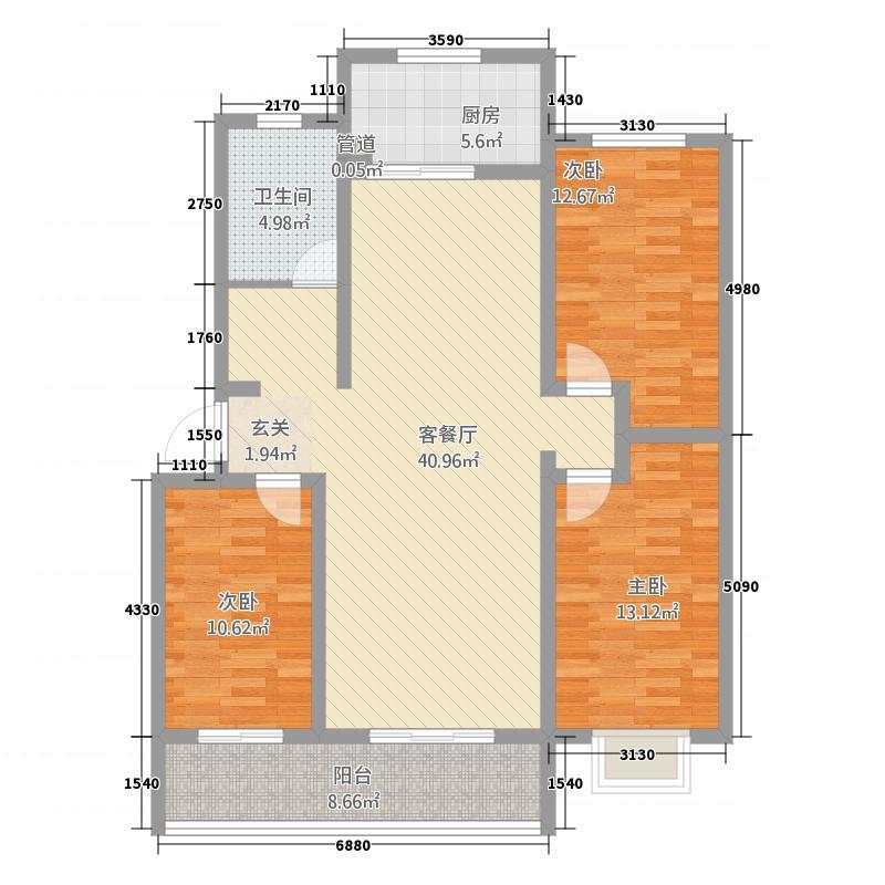 会盟丽景138.70㎡13879户型3室2厅1卫1厨