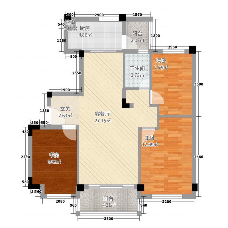 韶关碧桂园8.00㎡彩虹-YJ90T-2型户型3室2厅1卫1厨