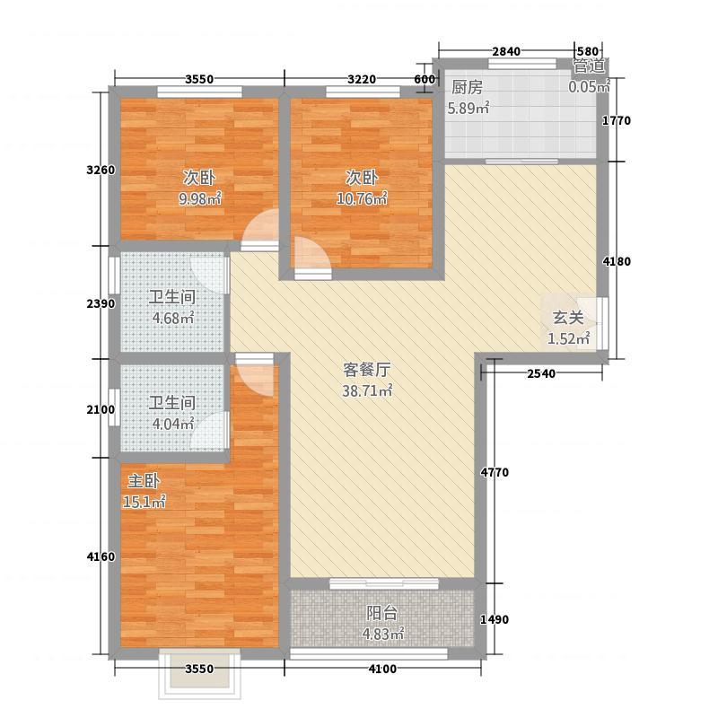 东城府邸134.40㎡A-13449户型3室2厅2卫1厨