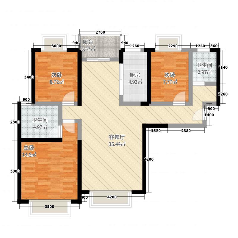 竹园华府二期124.76㎡3户型3室2厅2卫
