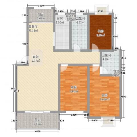 丰林花园3室1厅2卫1厨108.32㎡户型图
