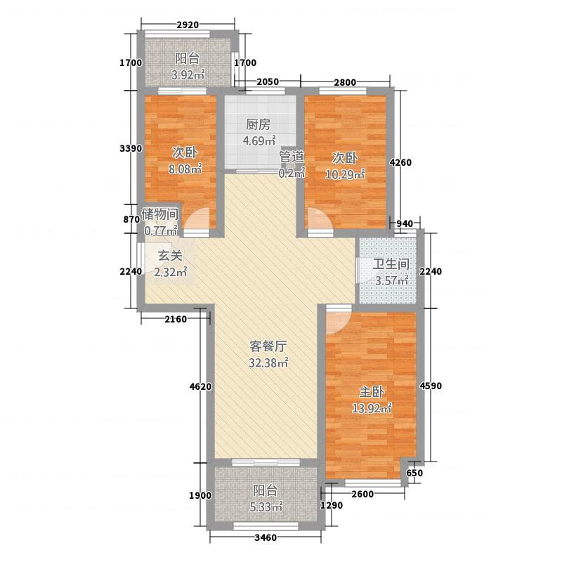 墨乡圣府12.00㎡5户型3室2厅1卫1厨