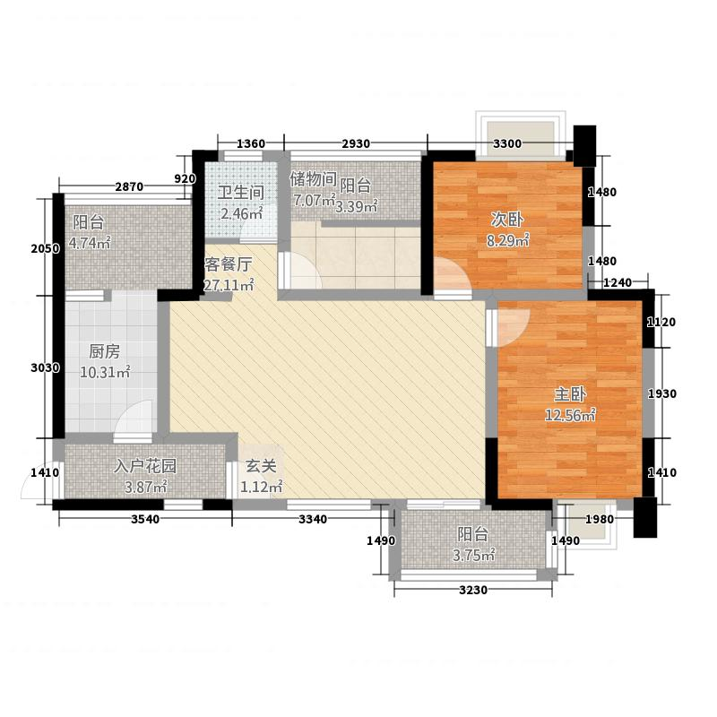 时代・中央城213.20㎡2号楼1单元3号3室户型3室2厅1卫1厨