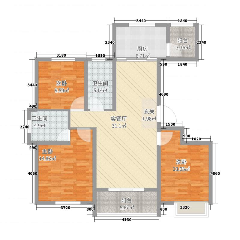 东方银座135.30㎡B3户型3室2厅2卫