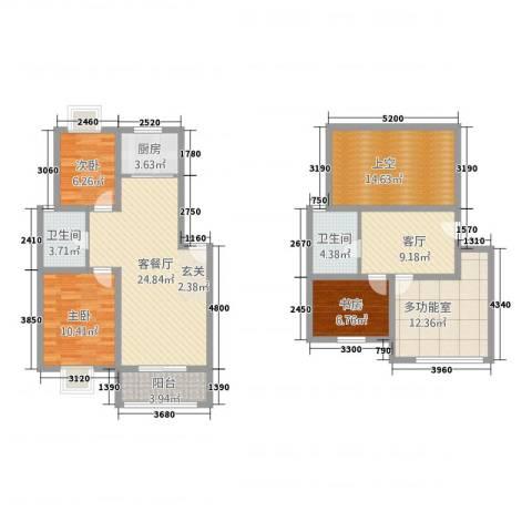 桃源居安阳花园3室2厅2卫1厨121.00㎡户型图