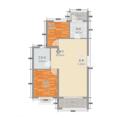 新东城2室1厅1卫1厨1228.00㎡户型图