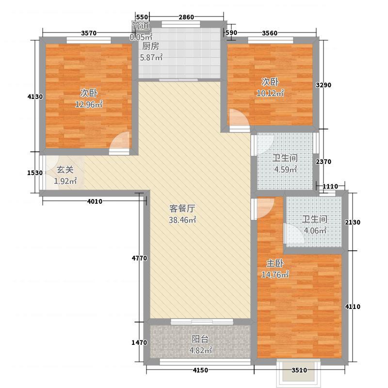 东城府邸136.86㎡13686户型3室2厅2卫1厨