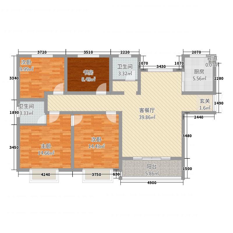 弘润山42152.25㎡H户型4室2厅2卫1厨