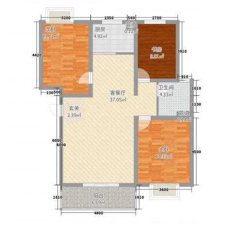 丰林花园3室1厅1卫1厨117.00㎡户型图