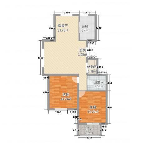 陶然・美地2室1厅1卫1厨103.00㎡户型图