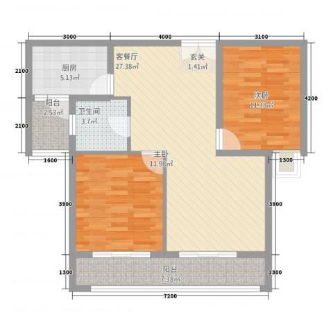 新东城2室1厅1卫1厨2227.00㎡户型图
