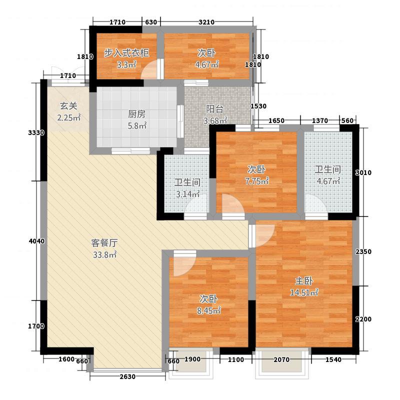 天恒花园Ⅲ期12.20㎡1单元2号房三室双卫-户型