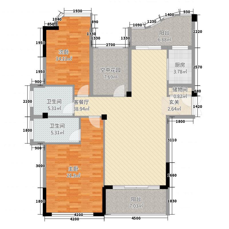 盛世江南118.42㎡D户型2室2厅2卫1厨