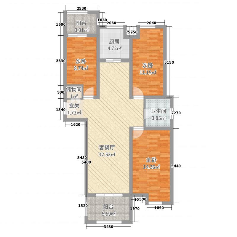 墨乡圣府123.00㎡6户型3室2厅1卫1厨