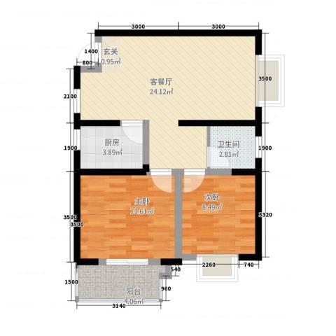 兴达大厦2室1厅1卫1厨80.00㎡户型图