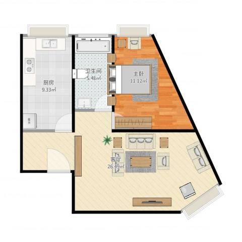 当代名筑1室1厅1卫1厨70.00㎡户型图