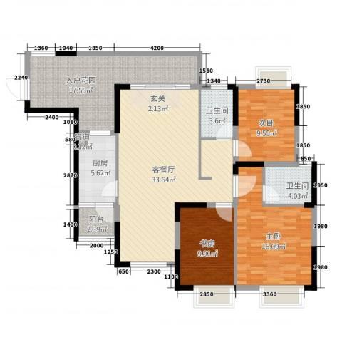 星越・星湖华府3室1厅2卫1厨146.00㎡户型图