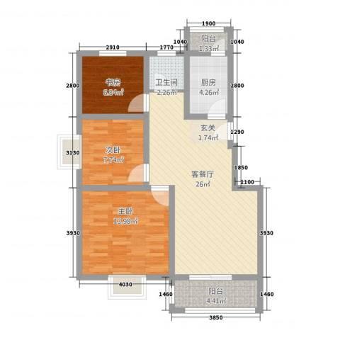 �都国际3室1厅1卫1厨123.00㎡户型图