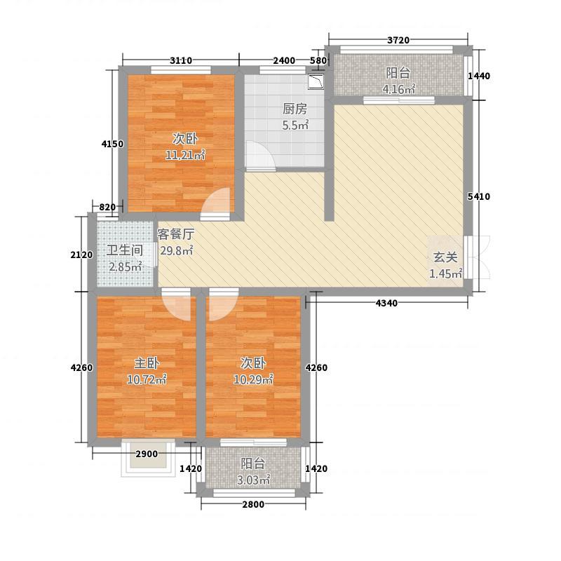 晋开清水湾112.86㎡三居室户型3室2厅1卫1厨