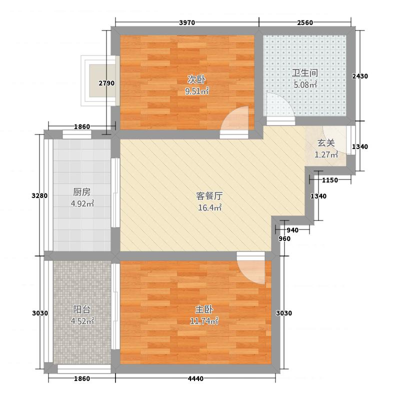 华豫锦绣园76.60㎡锦绣园4户型2室1厅1卫1厨