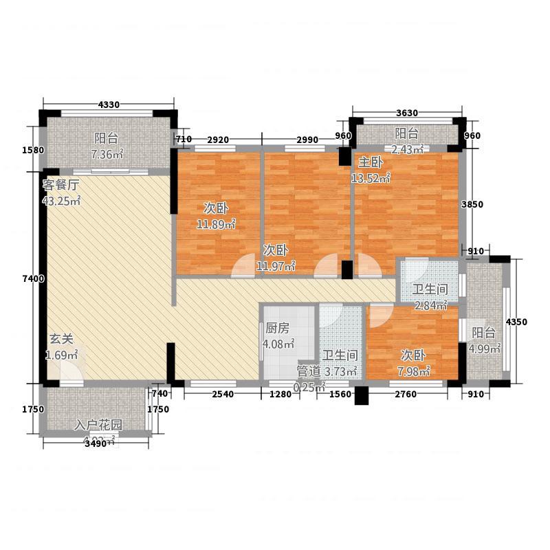 鸿泰花园13.00㎡户型4室2厅2卫1厨