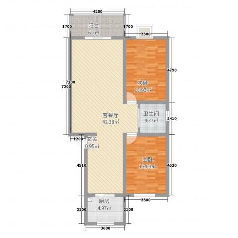 盛景华都2室1厅1卫1厨84.93㎡户型图