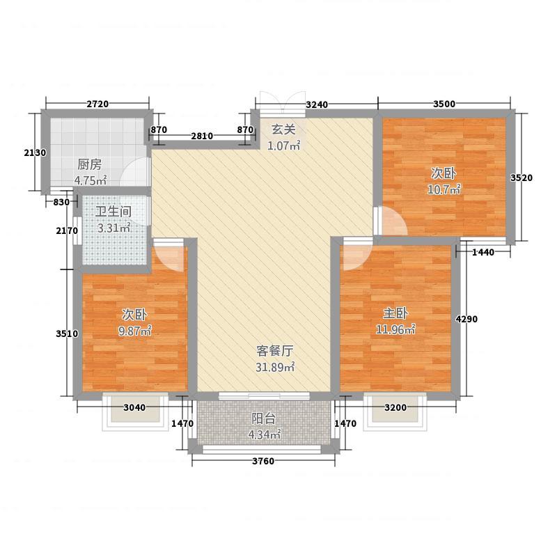 晋开清水湾1.46㎡户型3室2厅1卫1厨