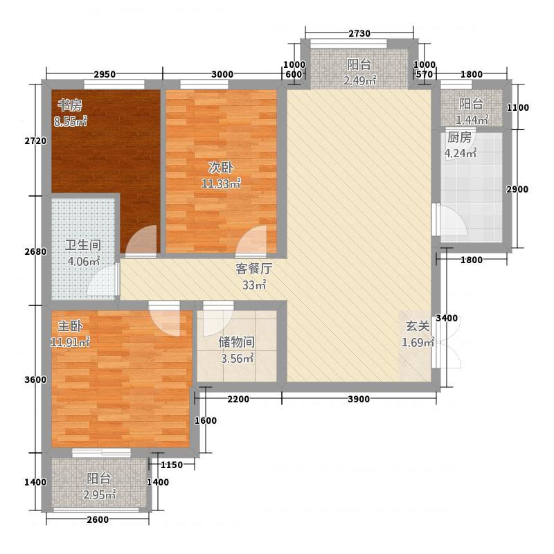 学府・未来城14131.20㎡14#B户型3室2厅2卫1厨