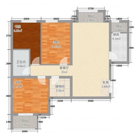 学府・未来城3室1厅1卫1厨14131.00㎡户型图