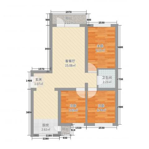 山景铭城3室1厅1卫0厨74.00㎡户型图