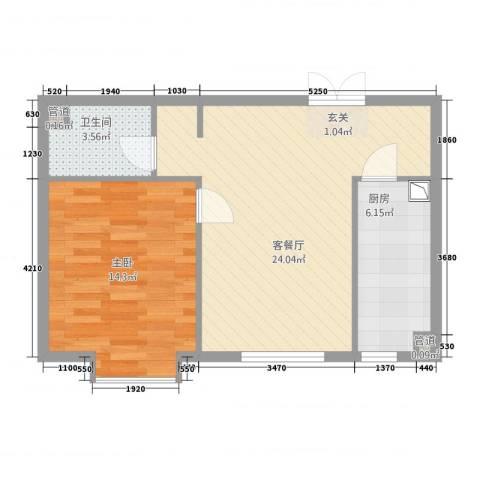 名购广场1室1厅1卫1厨48.29㎡户型图