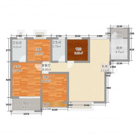 常绿・林溪谷4室1厅2卫1厨1122.00㎡户型图