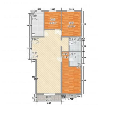 名购广场3室1厅2卫1厨158.00㎡户型图