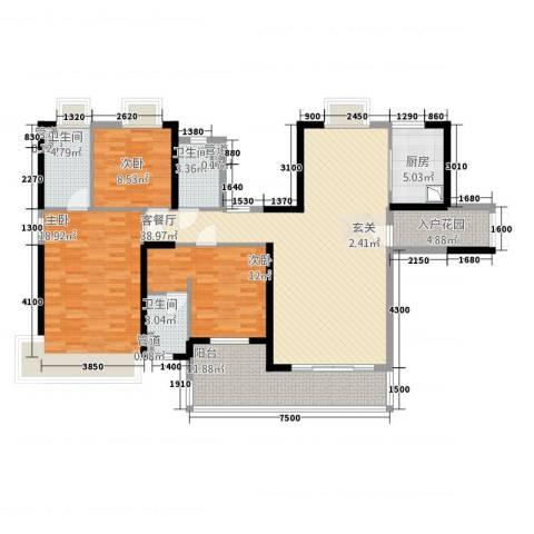 荣盛中央广场3室1厅3卫1厨142.00㎡户型图