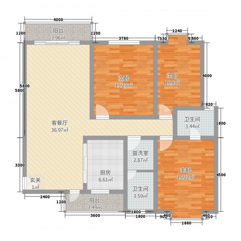 城市家园B区128.00㎡B户型3室2厅2卫1厨