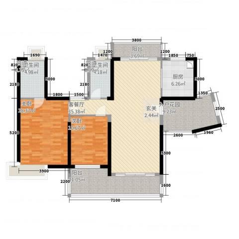 荣盛中央广场2室1厅2卫1厨126.00㎡户型图