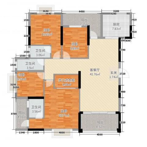 广场花园4室1厅3卫1厨158.00㎡户型图
