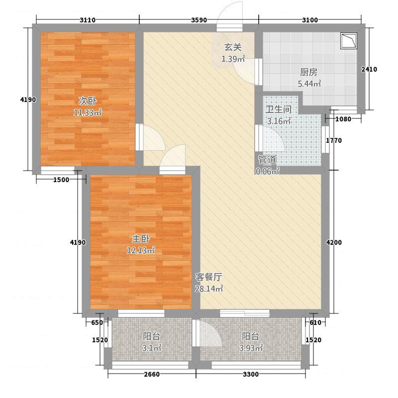 瀛城水郡6.20㎡B户型2室2厅1卫1厨