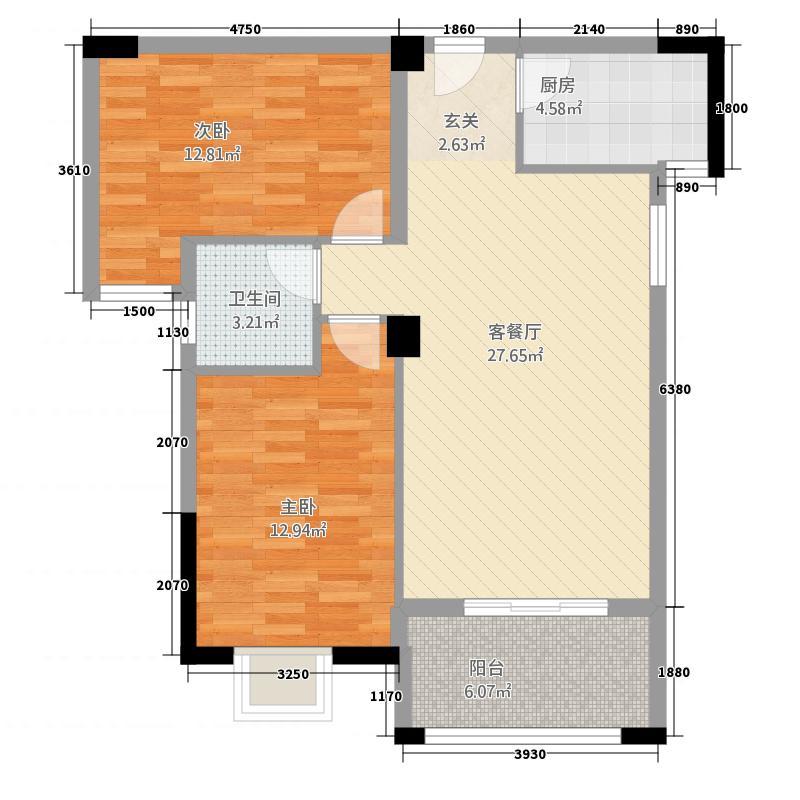 绿欧・�园22.20㎡02户型2室2厅1卫1厨