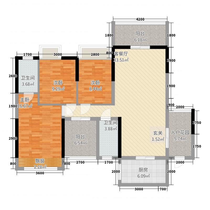 世纪之光432211.19㎡户型3室2厅2卫1厨