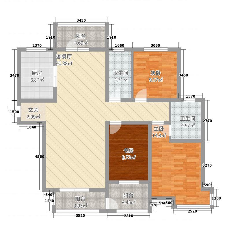 瀛城水郡144.22㎡F户型3室2厅2卫1厨