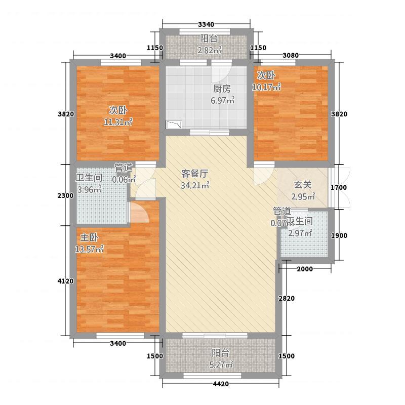 九鼎锦绣城124.81㎡G-1户型3室2厅2卫1厨