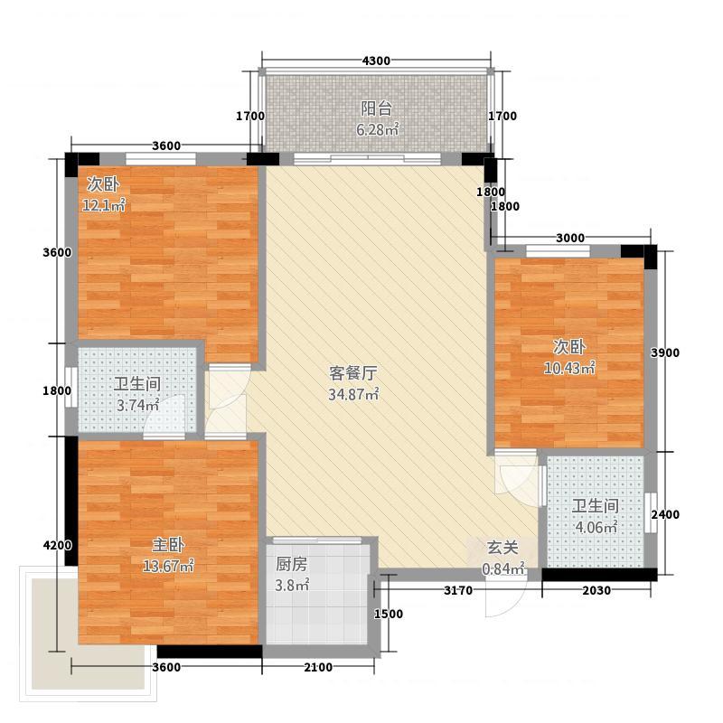 鸿基西湖春天3室1厅2卫1厨118.00㎡户型图