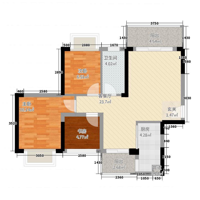 珠海港・海韵88.31㎡1/6栋03/04户型3室2厅1卫1厨