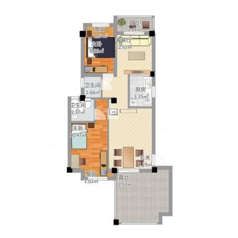 青年e家2室1厅2卫1厨90.00㎡户型图