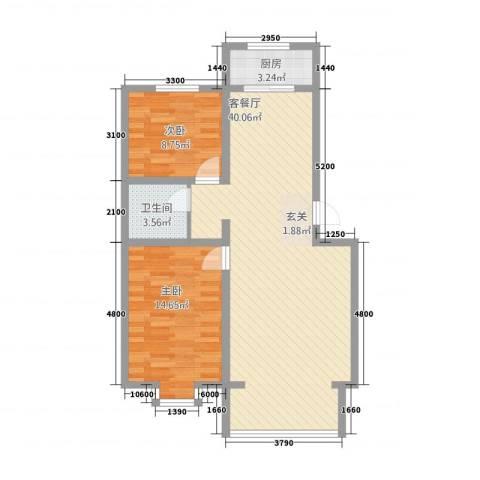 凯迪名苑2室1厅1卫1厨70.26㎡户型图